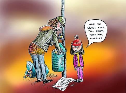 """Illustration: Robert Nyberg. Syntolkning: En kvinna rotar i en papperskorg, hennes barn frågar """"Har du långt kvar till brytpunkten, mamma?"""""""