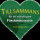 """Syntolkning: Ett grönt hjärta med texten """"Tillsammans för en mänskligare Försäkringskassa"""" #mänskligareFK"""